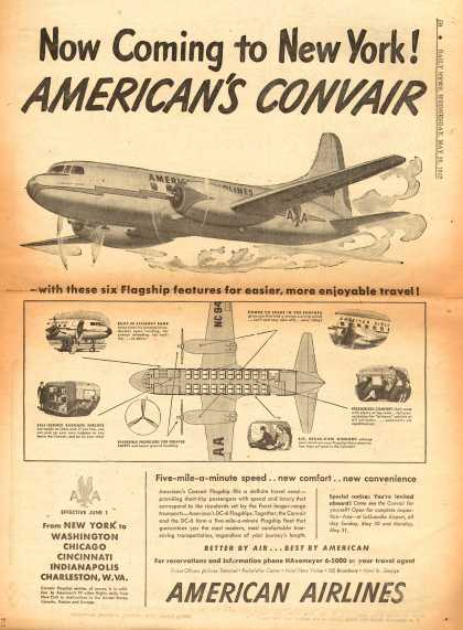American Airlines – Now Coming to New York! American's Convair (1948)