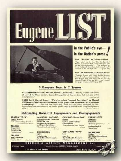 Eugene List Photo Piano Ad Music (1953)