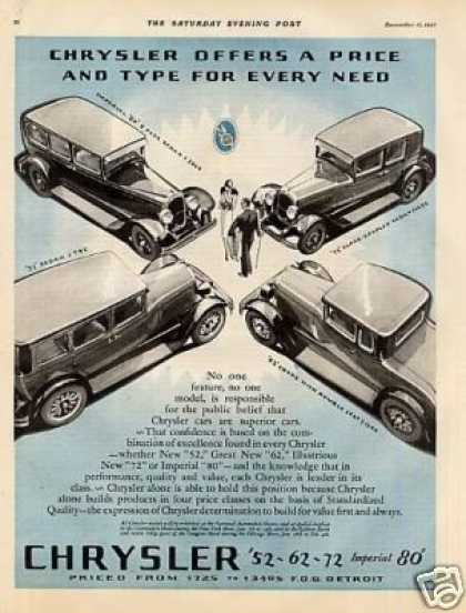 Chrysler Car Ad 4 Models (1928)