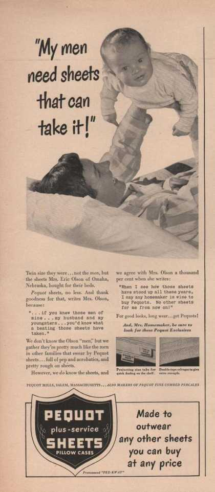 Pequot Bed Sheets & Pillow Cases (1949)