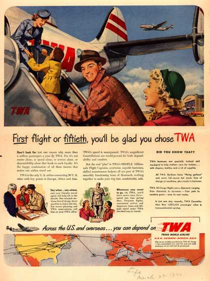 Trans World Airline's TWA – First flight or fiftieth, you'll be glad you chose TWA (1950)