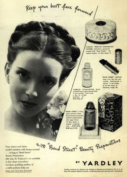 Yardley of London's Bond Street Beauty Preparations – Keep your best face forward (1942)