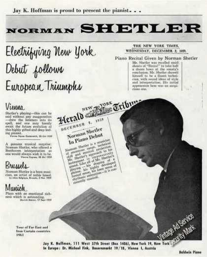 Norman Shetler Photo Pianist Booking (1960)