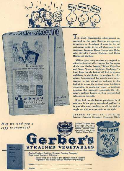 Gerber Products Division, Fremont Canning Company's Gerber Strained Vegetables – We Won't Eat (1931)