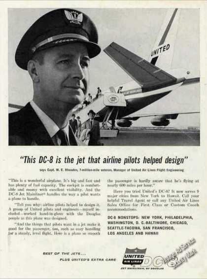United Airlines Dc-8 Capt W E Rhoades Photo (1960)