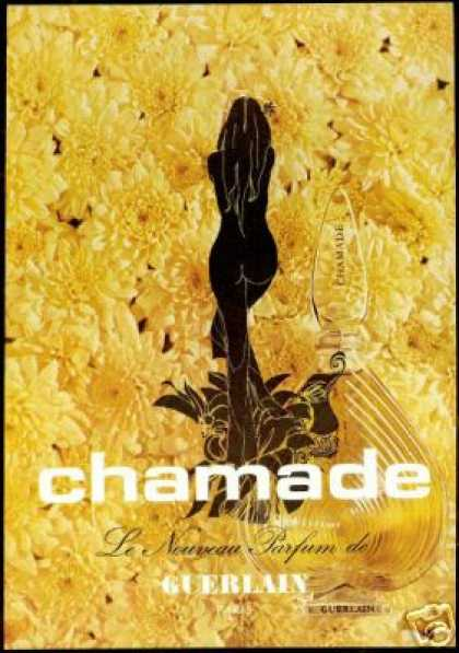 Guerlain Chamade Perfume Naked Women Art (1970)
