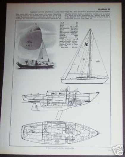 Pearson 35 Yacht Sailboat Boat Ad – Spec Page (1971)