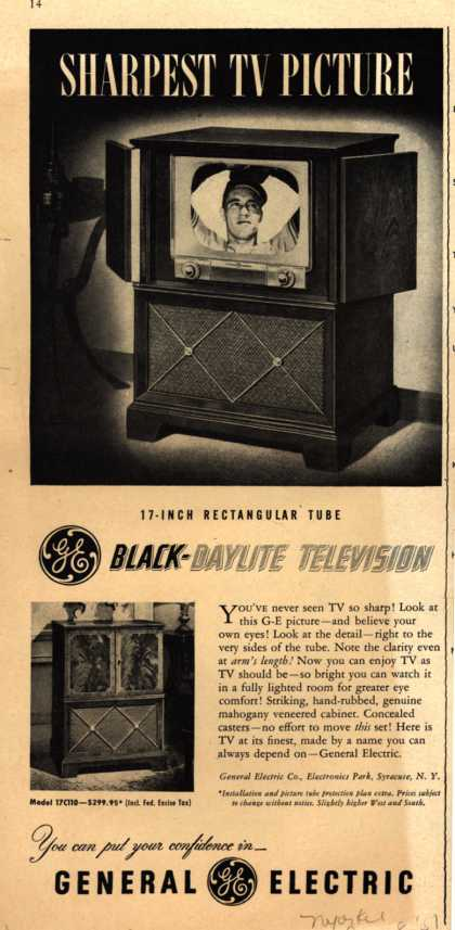 General Electric Company's Black-Daylite Television – Sharpest TV Picture (1951)