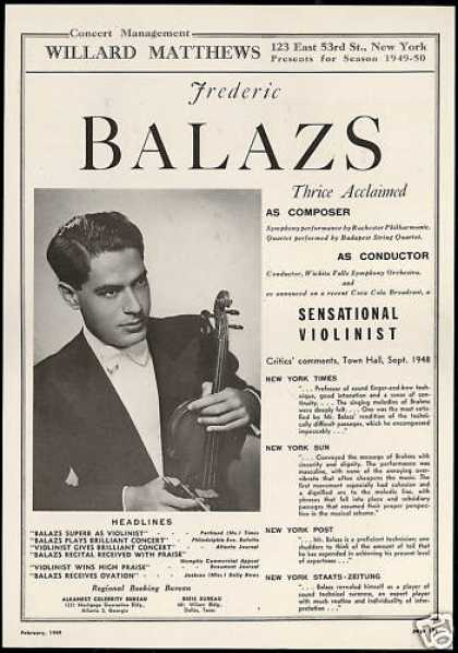 Frederic Balazs Photo Reviews Bookings (1949)