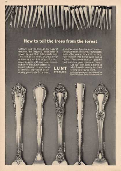 Lunt Sterling Silver 5 Patterns Photo (1964)
