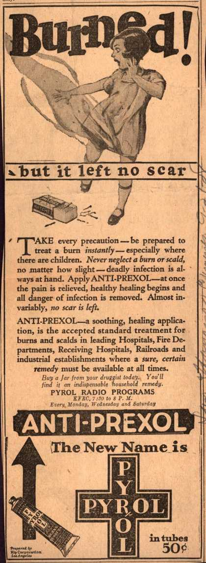 Kip Corporation&#8217;s Anti-Prexol or Pyrol &#8211; Burned (1928)