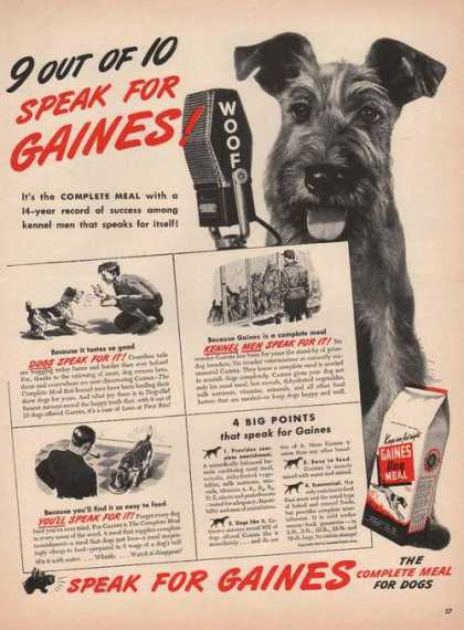 Complete Meal for Dogs Gaines Meal (1944)