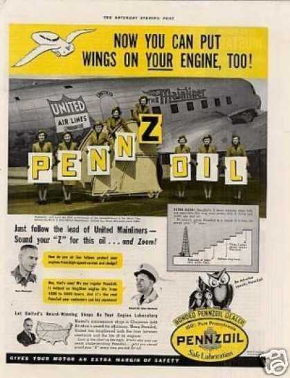 Pennzoil Oil Ad United Air Lines (1940)