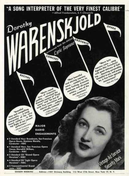 Dorothy Warenskjold Photo Recital/concert (1948)