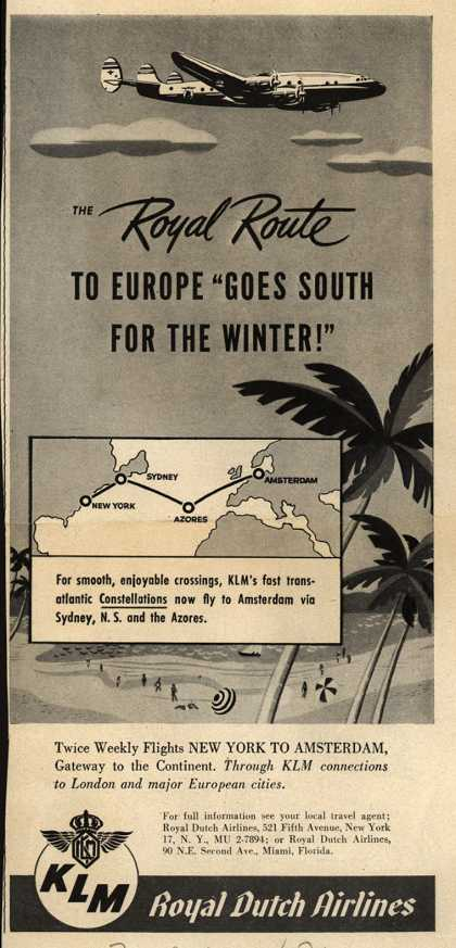 "KLM Royal Dutch Airline's New York to Amsterdam – The Royal Route to Europe ""Goes South for the Winter!"" (1947)"