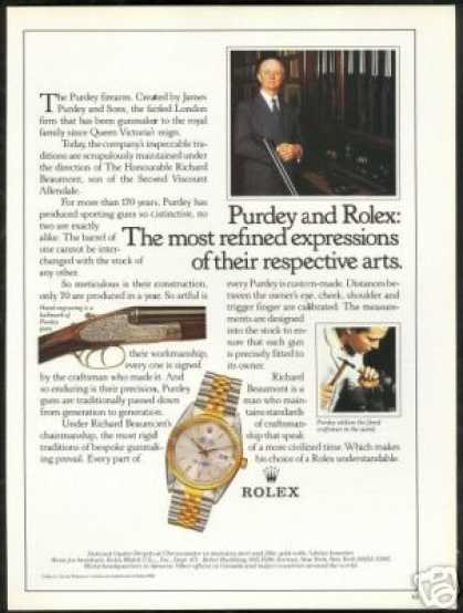 Purdy Guns Shotgun Rolex Chronometer Watch (1986)