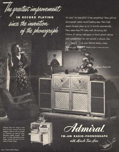 Admiral – The Greatest Improvement in Record Playing Since the Invention of the Phonograph (1947)