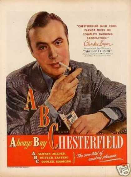 Chesterfield Cigarettes Ad Charles Boyer (1947)