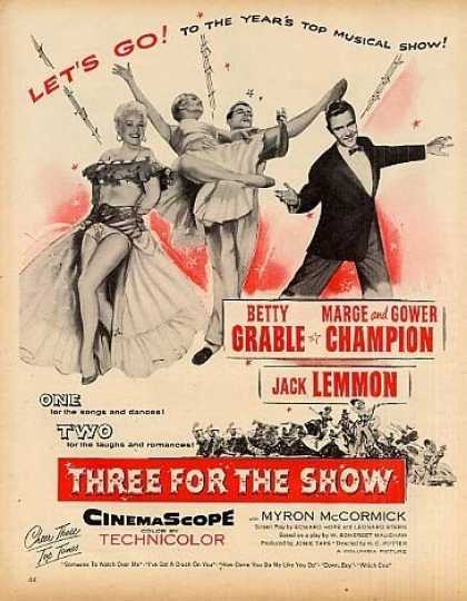 "Movie Ad ""Three for the Show"" Betty Grable (1955)"