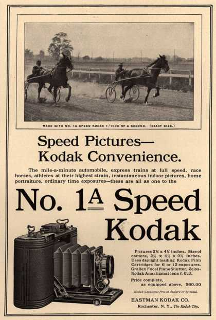 Kodak – Speed Pictures- Kodak Convenience. No. 1 Speed Kodak (1910)