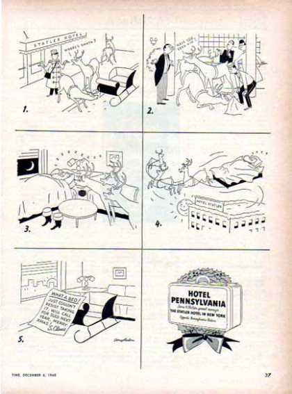 Statler Hotels Holiday Comic – Hotel Pennsylvania (1948)