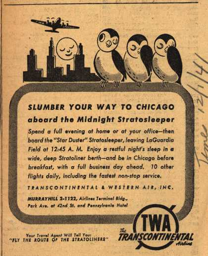 Transcontinental & Western Air's Stratosleeper – Slumber Your Way To Chicago aboard the Midnight Stratosleeper (1941)