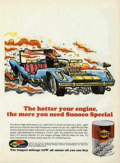 Sunoco Special 10w-40 Ad Racing Art (1971)