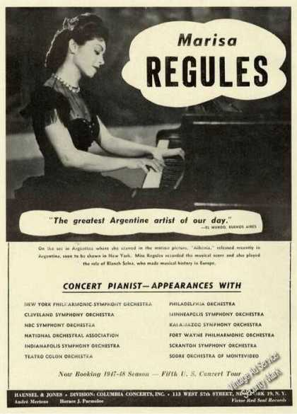 Marisa Regules Photo Argentina Piano Trade (1947)