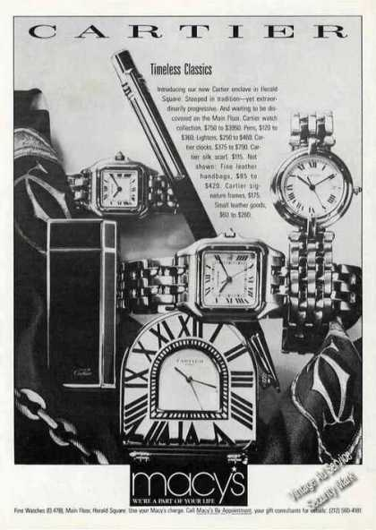 Macy's Ad Timeless Classic Watches By Cartier (1987)