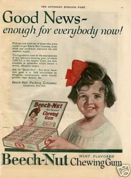 Beech-nut Chewing Gum Color (1921)