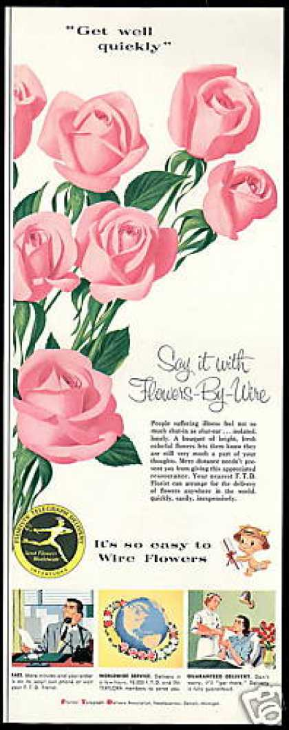 FTD Florists Flowers Pink Roses (1956)