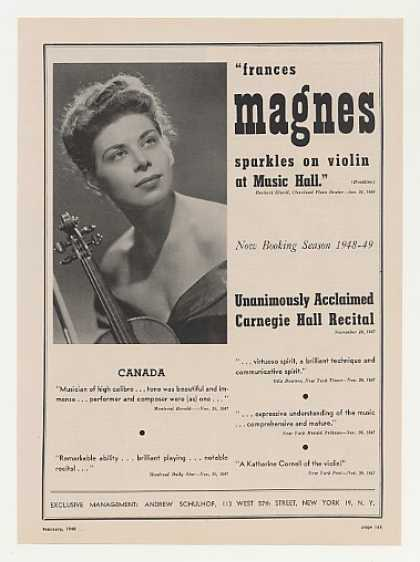 Violinist Frances Magnes Photo Booking (1948)
