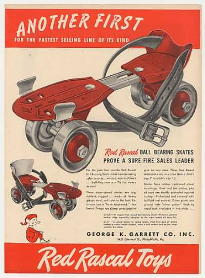 Red Rascal Ball Bearing Roller Skates Trade (1947)