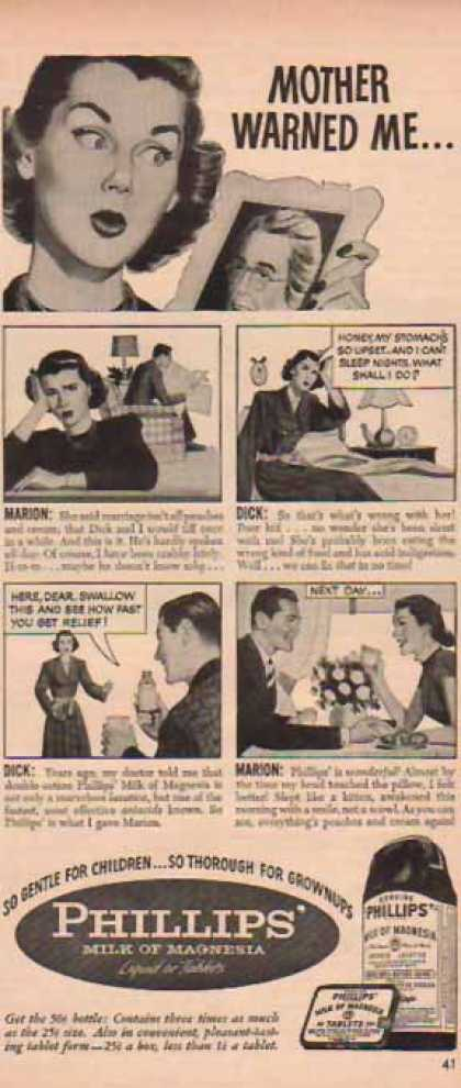 Phillips' Milk of Magnesia – Marion & Dick Comic Strip: Mother Warned Me (1948)
