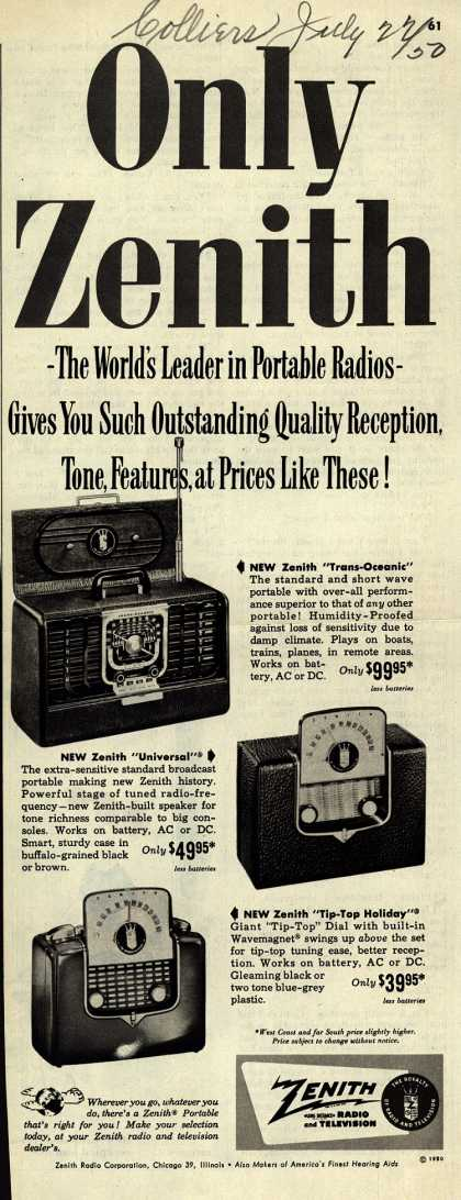 Zenith Radio Corporation's Portables – Only Zenith-The World's Leader in Portable Radios-Gives You Such Outstanding Quality Reception, Tone, Features, at Prices Like These (1950)