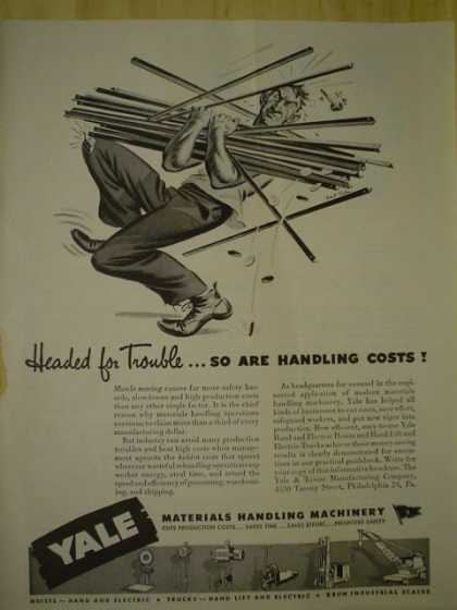 Yales Materials handling machinery. Handling costs headed for trouble (1945)