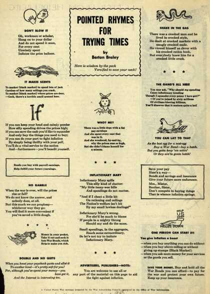 War Advertising Council's Anti-inflation – Pointed Rhymes For Trying Times (1945)