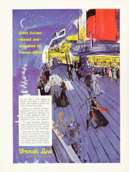 French Line Cruise Ship Art France Afloat (1958)