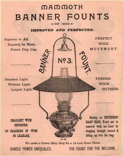 Newbold & Son's Banner, Draft Lamps and Founts – Mammoth Banner Founts (1890)