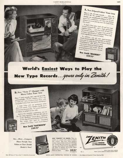 Zenith Radio Corporation's Radio-Phonograph – World's Easiest Ways to Play the New Type Records...yours only in Zenith (1949)