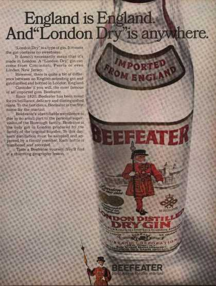 Beefeater London Distilled Dry Gin Print A (1969)