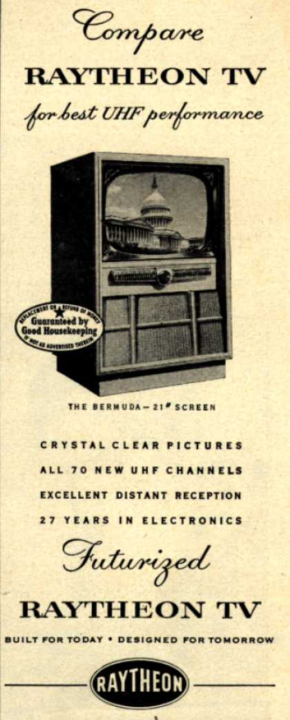 Raytheon Television and Radio Corporation's Television – Compare Raytheon TV for best UHF performance (1952)