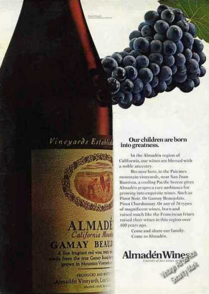 Almaden Wines Our Children Born Into Greatness (1972)