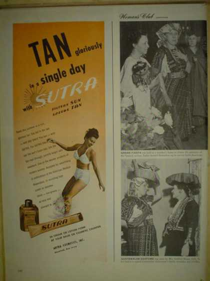 Sutra Sun Tan Lotion. Tan gloriously in a single day (1946)