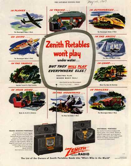 Zenith Radio Corporation's Portable Radios – Zenith Portables won't play under water... But They Will Play Everywhere Else (1947)