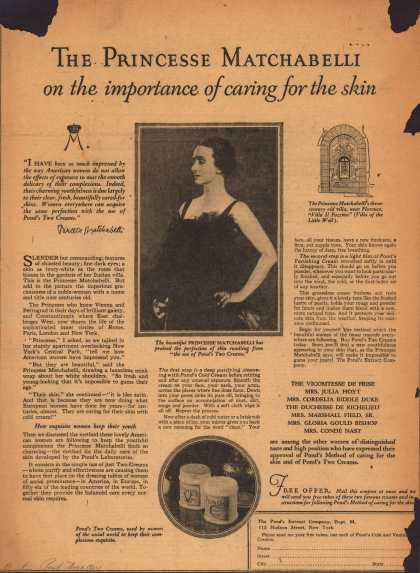 Pond's Extract Co.'s Pond's Cold Cream and Vanishing Cream – The Princess Matchabelli on the importance of caring for the skin. (1924)
