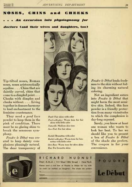 Richard Hudnut's Poudre Le Debut – Noses, Chins and Cheeks... An excursion into physiognomy for doctors (and their wives and daughters, too) (1930)