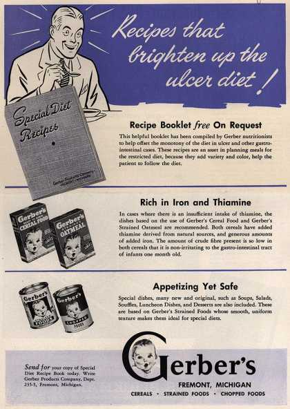 Gerber Products Company's Gerber Cereals, Strained Foods and Chopped Foods – Recipes that Brighten up the Ulcer Diet (1945)