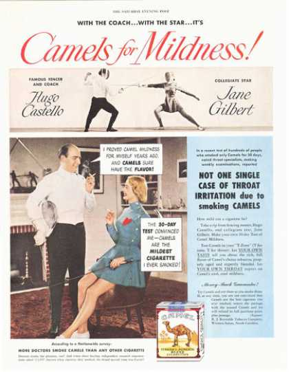 Camel Cigarettes Fencing Star Jane Gilbert (1949)