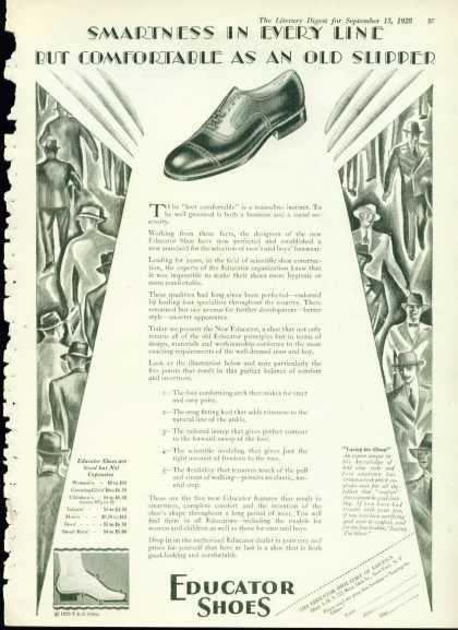 Educator Shoes Ad Stunning Art Deco Styling (1928)
